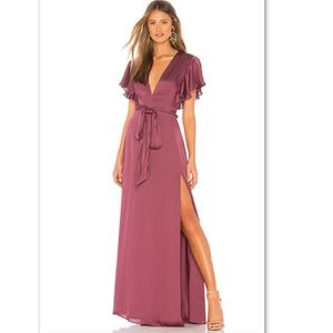 Jill Stuart Ruffle Sleeve Deep V Hi-Slit Long Gown